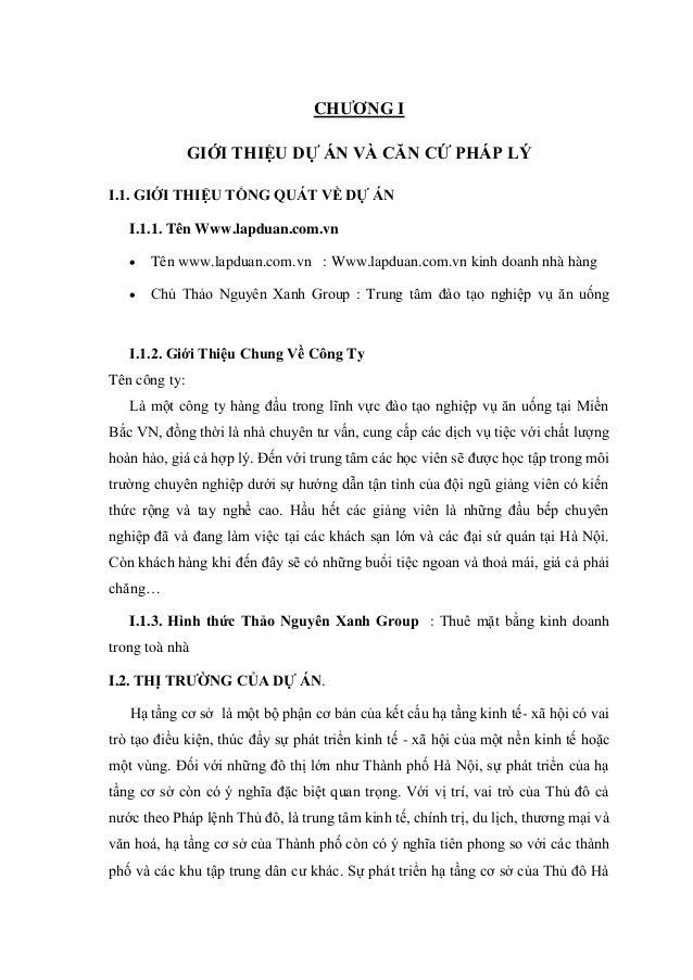 CHƯƠNG I GIỚI THIỆU DỰ ÁN VÀ CĂN CỨ PHÁP LÝ I.1. GIỚI THIỆU TỔNG QUÁT VỀ DỰ ÁN I.1.1. Tên Www.lapduan.com.vn  Tên www.lap...