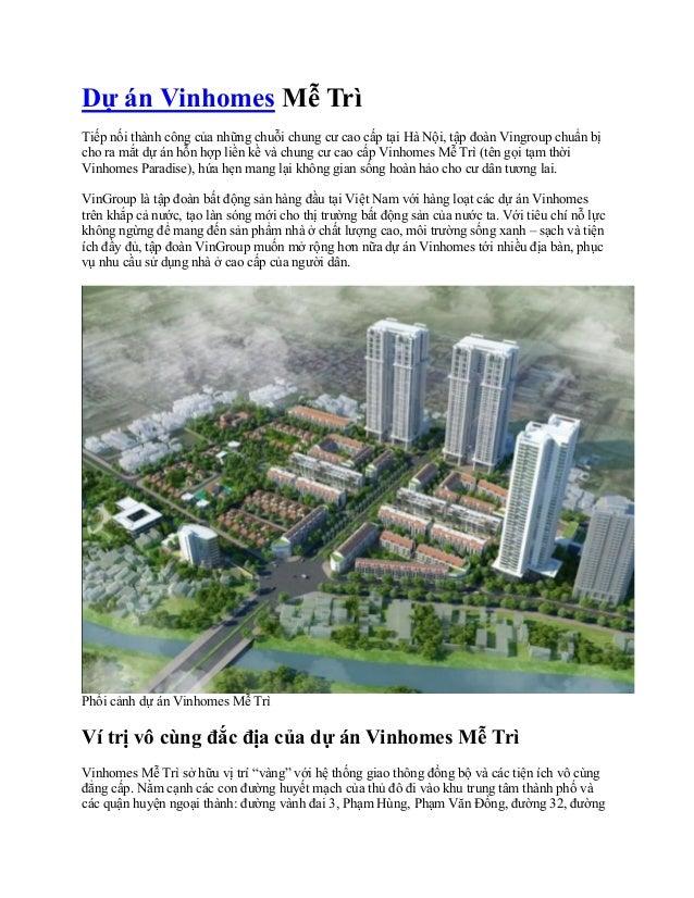 Dự án Vinhomes Mễ Trì Tiếp nối thành công của những chuỗi chung cư cao cấp tại Hà Nội, tập đoàn Vingroup chuẩn bị cho ra m...
