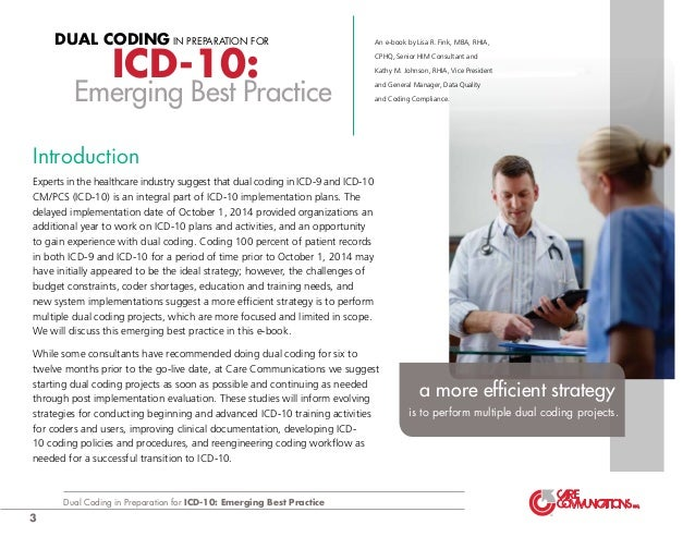 Dual Coding In Preparation For Icd 10 Emerging Best Practice