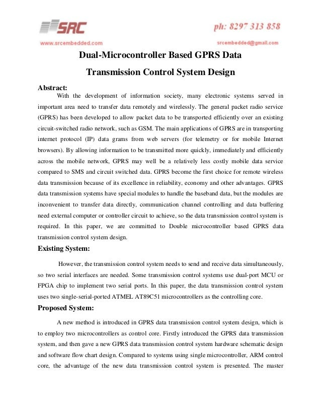 Dual-Microcontroller Based GPRS Data Transmission Control System Design Abstract: With the development of information soci...