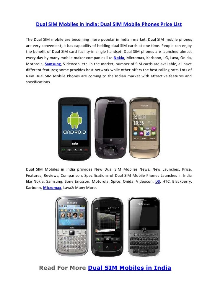 list of dual sim mobile phones