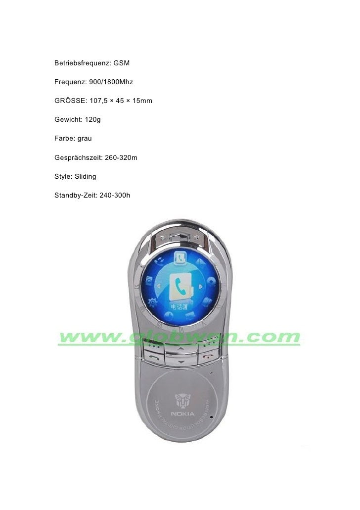 Betriebsfrequenz: GSM  Frequenz: 900/1800Mhz  GRÖSSE: 107,5 × 45 × 15mm  Gewicht: 120g  Farbe: grau  Gesprächszeit: 260-32...