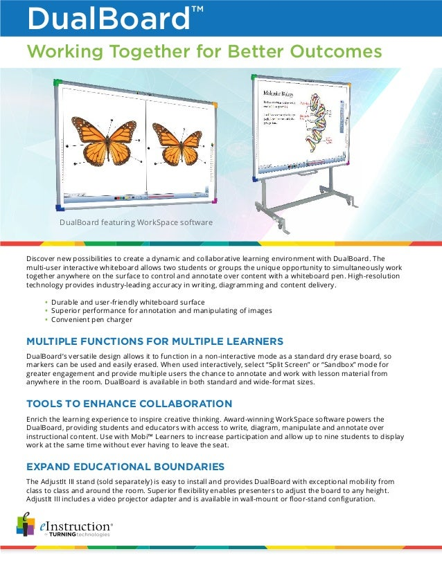 DualBoard featuring WorkSpace software Working Together for Better Outcomes Discover new possibilities to create a dynamic...