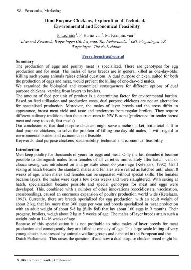 S8 - Economics, Marketing (193-118)  Dual Purpose Chickens, Exploration of Technical, Environmental and Economical Feasibi...