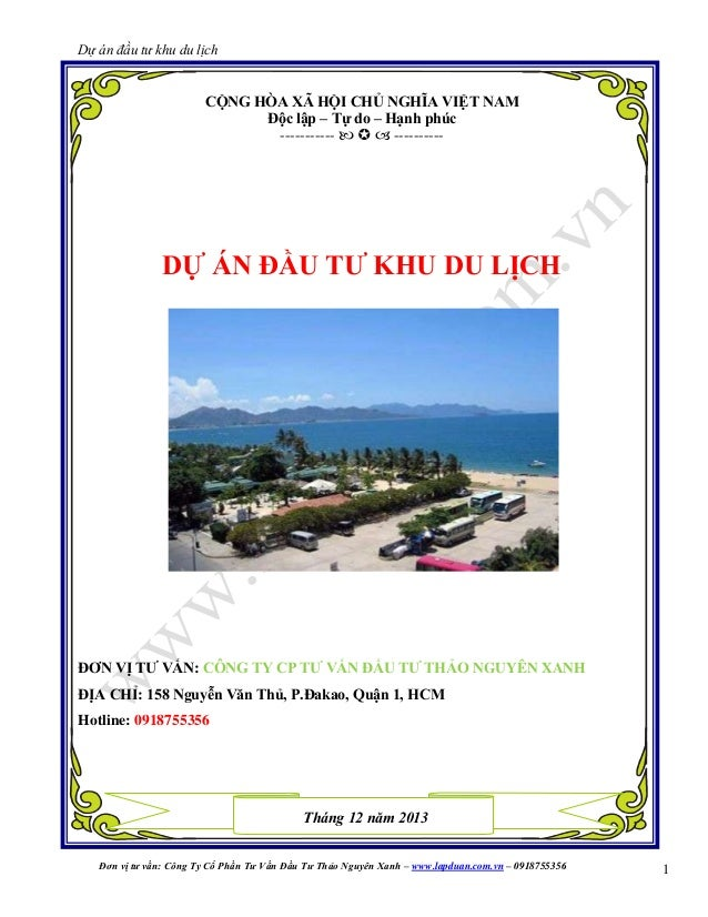 Dự án đầu tư khu du lịch  CỘNG HÒA XÃ HỘI CHỦ NGHĨA VIỆT NAM Độc lập – Tự do – Hạnh phúc -----------    ----------  DỰ ...