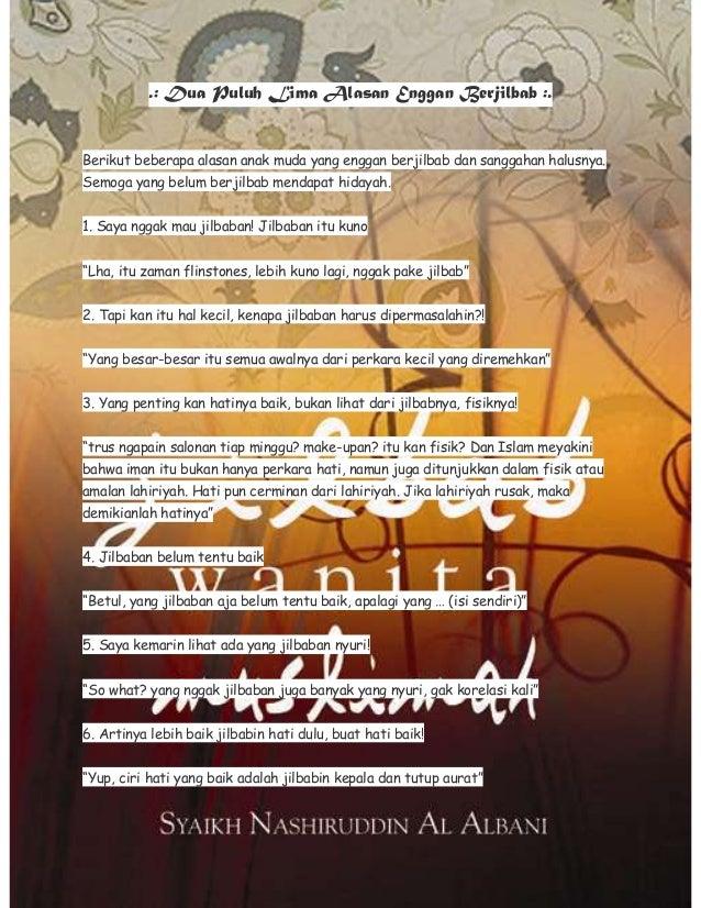 .: Dua Puluh Lima Alasan Enggan Berjilbab :.  Berikut beberapa alasan anak muda yang enggan berjilbab dan sanggahan halusn...