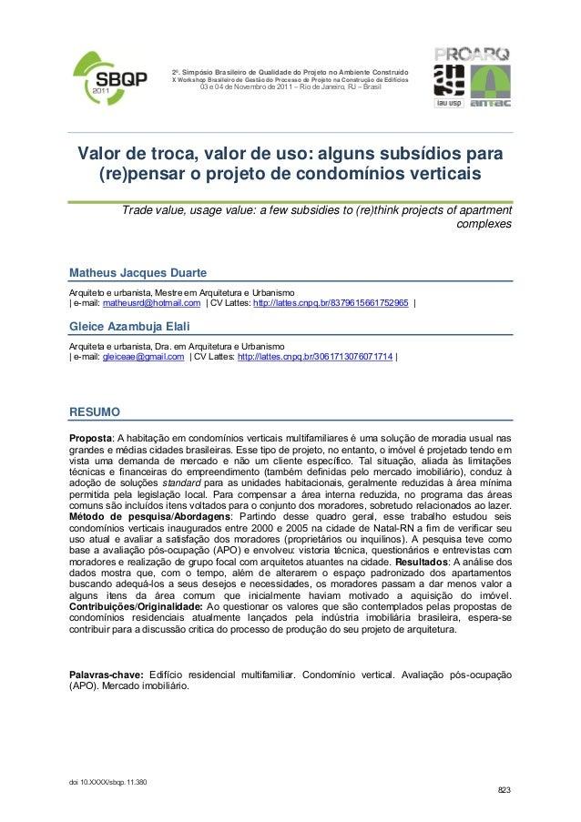 2º. Simpósio Brasileiro de Qualidade do Projeto no Ambiente Construído X Workshop Brasileiro de Gestão do Processo de Proj...