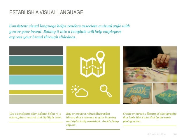 ESTABLISH A VISUAL LANGUAGE Consistent visual language helps readers associate a visual style with you or your brand. Baki...