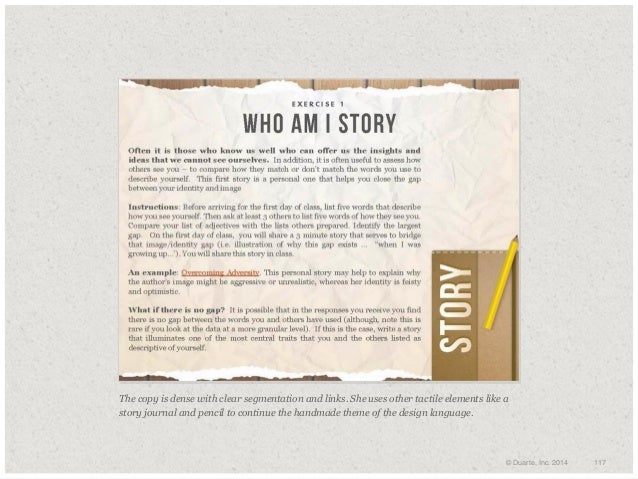 The copy is dense with clear segmentation and links. She uses other tactile elements like a story journal and pencil to c...