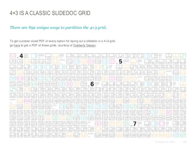 4×3 IS A CLASSIC SLIDEDOC GRID There are 892 unique ways to partition the 4×3 grid.  ​To get a poster-sized PDF of every o...