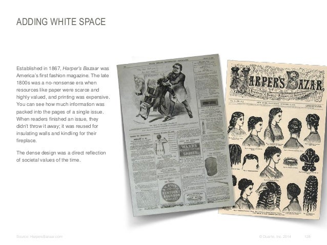 ADDING WHITE SPACE  ​Established in 1867, Harper's Bazaar was America's first fashion magazine. The late 1800s was a no-no...