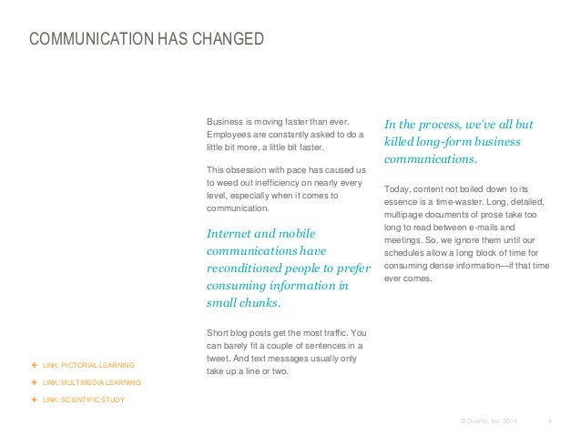 COMMUNICATION HAS CHANGED  ​Business is moving faster than ever. Employees are constantly asked to do a little bit more, a...