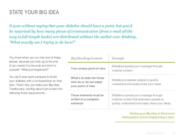 STATE YOUR BIG IDEA It goes without saying that your slidedoc should have a point, but you'd be surprised by how many piec...