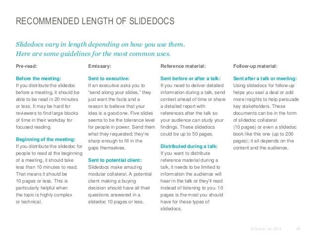 RECOMMENDED LENGTH OF SLIDEDOCS Slidedocs vary in length depending on how you use them. Here are some guidelines for the m...