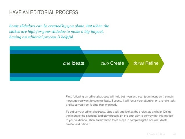 HAVE AN EDITORIAL PROCESS Some slidedocs can be created by you alone. But when the stakes are high for your slidedoc to ma...