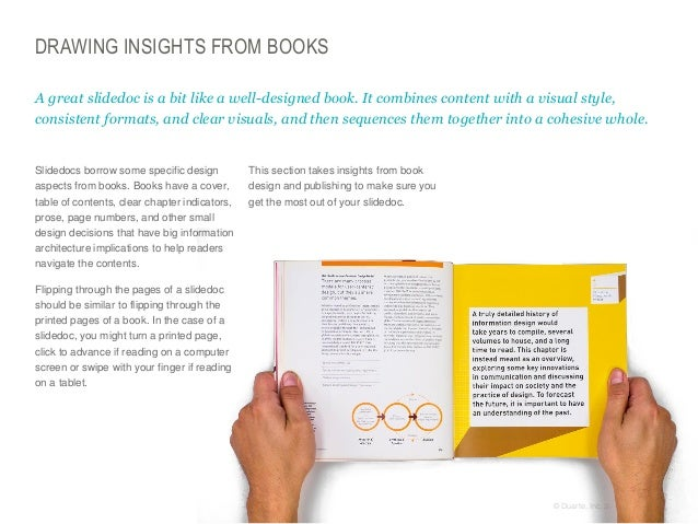 DRAWING INSIGHTS FROM BOOKS A great slidedoc is a bit like a well-designed book. It combines content with a visual style, ...