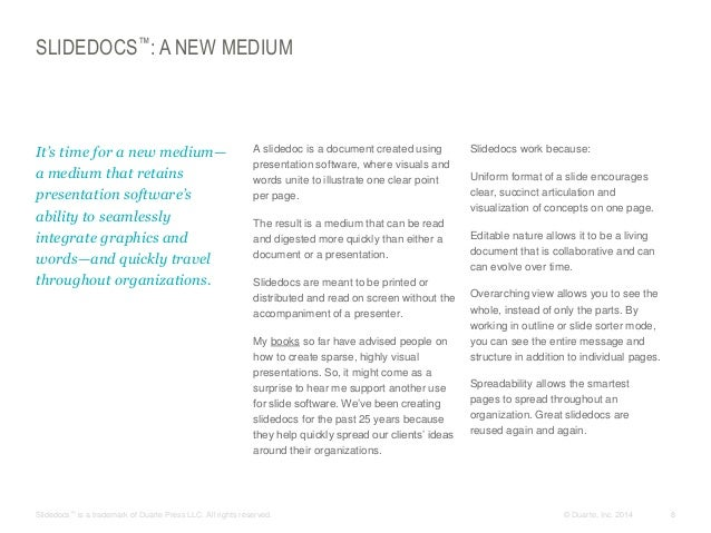 SLIDEDOCS™: A NEW MEDIUM  ​It's time for a new medium— a medium that retains presentation software's ability to seamlessly...