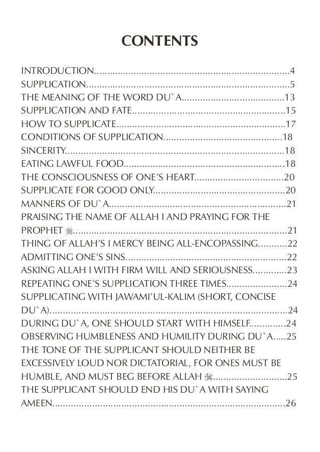 CONTENTS INTRODUCTION..........................................................................4 SUPPLICATION................