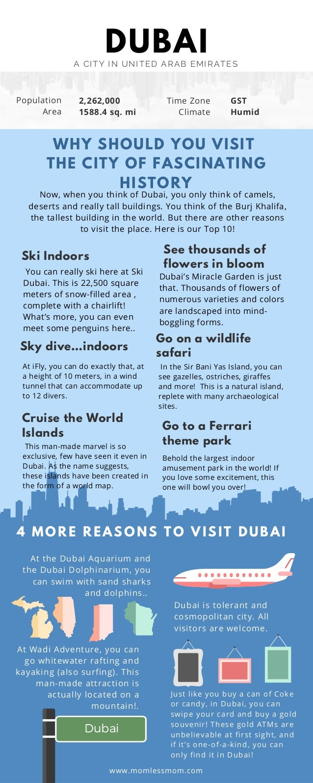 DUBAIA CITY IN UNITED ARAB EMIRATES Dubai Sky dive…indoors Cruise the World Islands See thousands of flowers in bloom Go o...