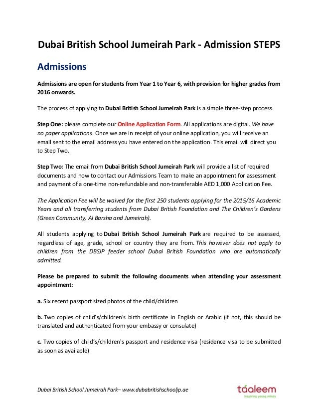 Dubai British School Jumeirah Park Admission Steps