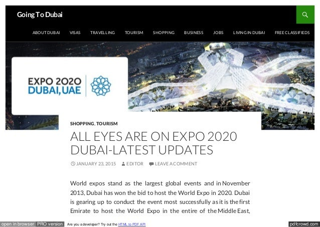 Expo 2020 Stands For : Dubai expo
