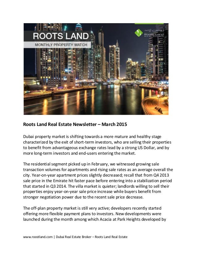 Dubai Real Estate Newsletter - March 2015