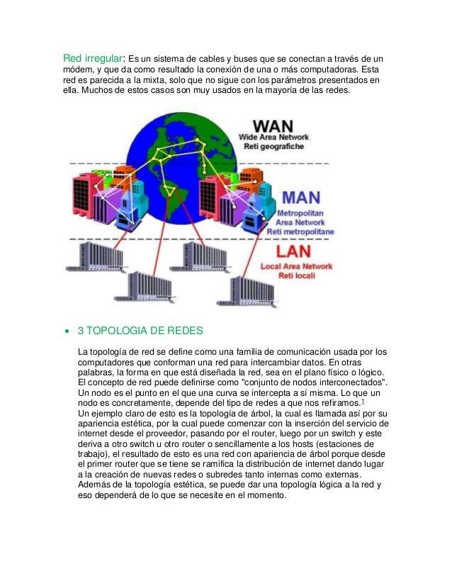 Red irregular: Es un sistema de cables y buses que se conectan a través de un  módem, y que da como resultado la conexión ...