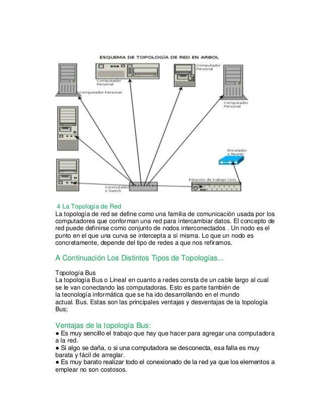 4 La Topología de Red  La topología de red se define como una familia de comunicación usada por los  computadores que conf...