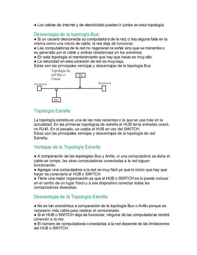 ● Los cables de Internet y de electricidad pueden ir juntos en esta topología.  Desventajas de la topología Bus:  ● Si un ...