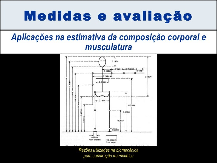 Medidas e avaliação Aplicações na estimativa da composição corporal e musculatura Razões utilizadas na biomecânica para co...