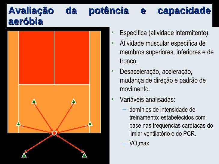 Avaliação da potência e capacidade aeróbia <ul><li>Específica (atividade intermitente). </li></ul><ul><li>Atividade muscul...