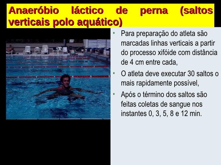Anaeróbio láctico de perna (saltos verticais polo aquático) <ul><li>Para preparação do atleta são marcadas linhas verticai...