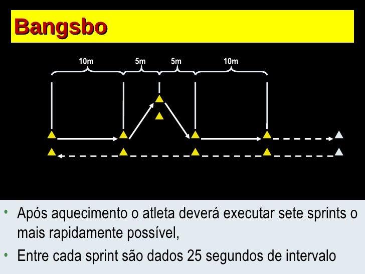 Bangsbo 10m 10m 5m 5m <ul><li>Após aquecimento o atleta deverá executar sete sprints o mais rapidamente possível, </li></u...