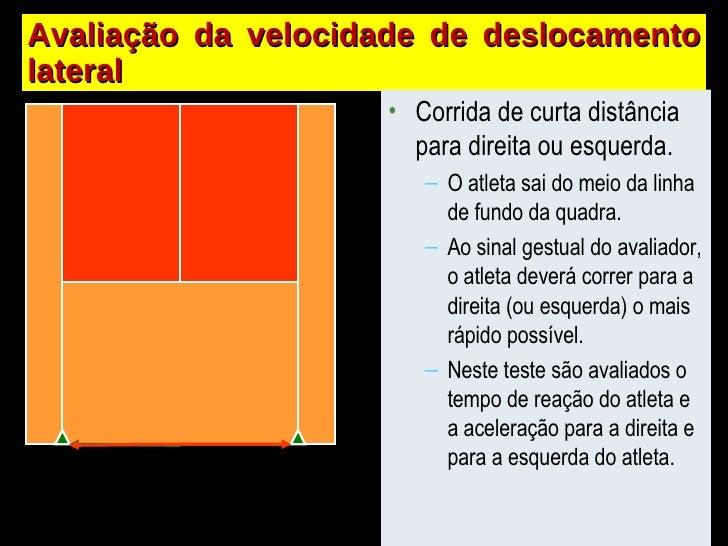 Avaliação da velocidade de deslocamento lateral <ul><li>Corrida de curta distância para direita ou esquerda. </li></ul><ul...