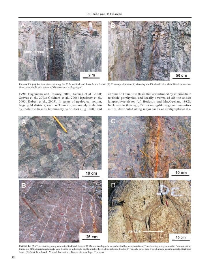 B. Dubé and P. Gosselin          FIGURE 13. (A) Section view showing the 25 M oz Kirkland Lake Main Break. (B) Close-up of...