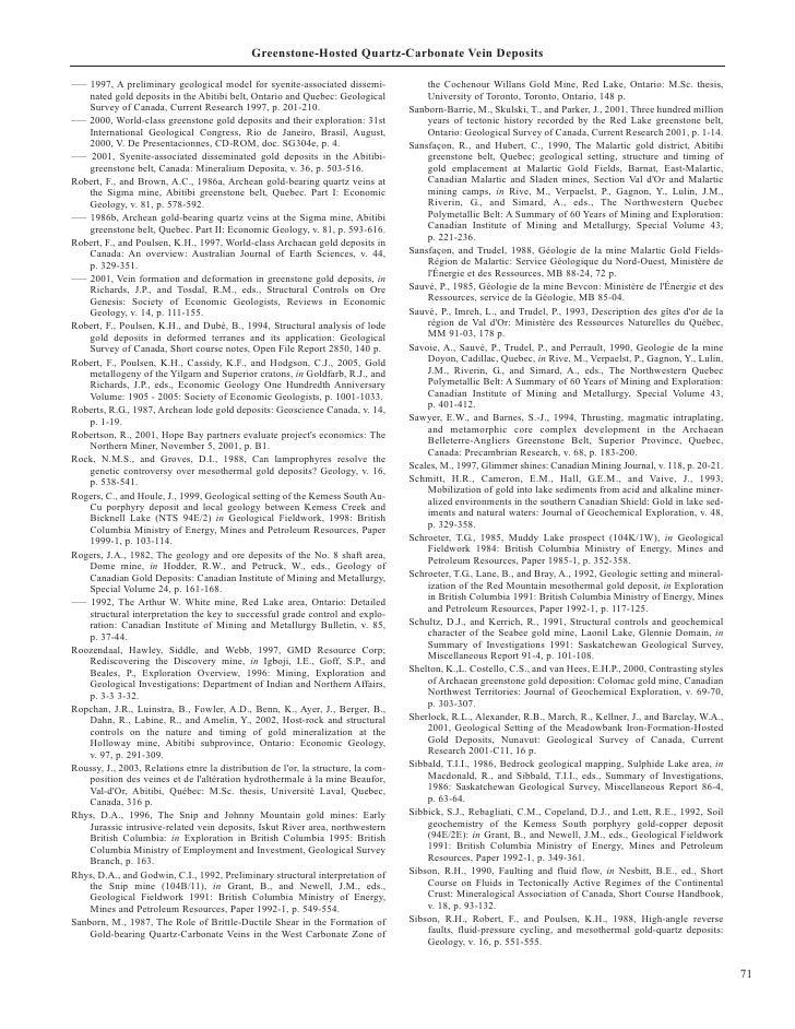 GREENSTONE-HOSTED QUARTZ-CARBONATE VEIN DEPOSITS