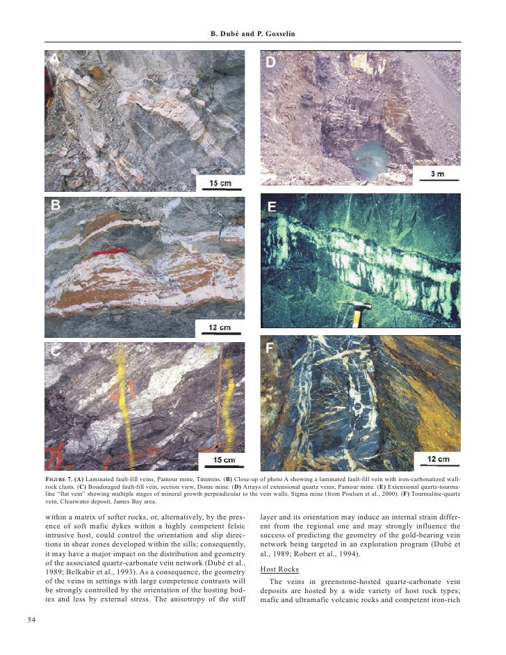 B. Dubé and P. Gosselin          FIGURE 7. (A) Laminated fault-fill veins, Pamour mine, Timmins. (B) Close-up of photo A s...