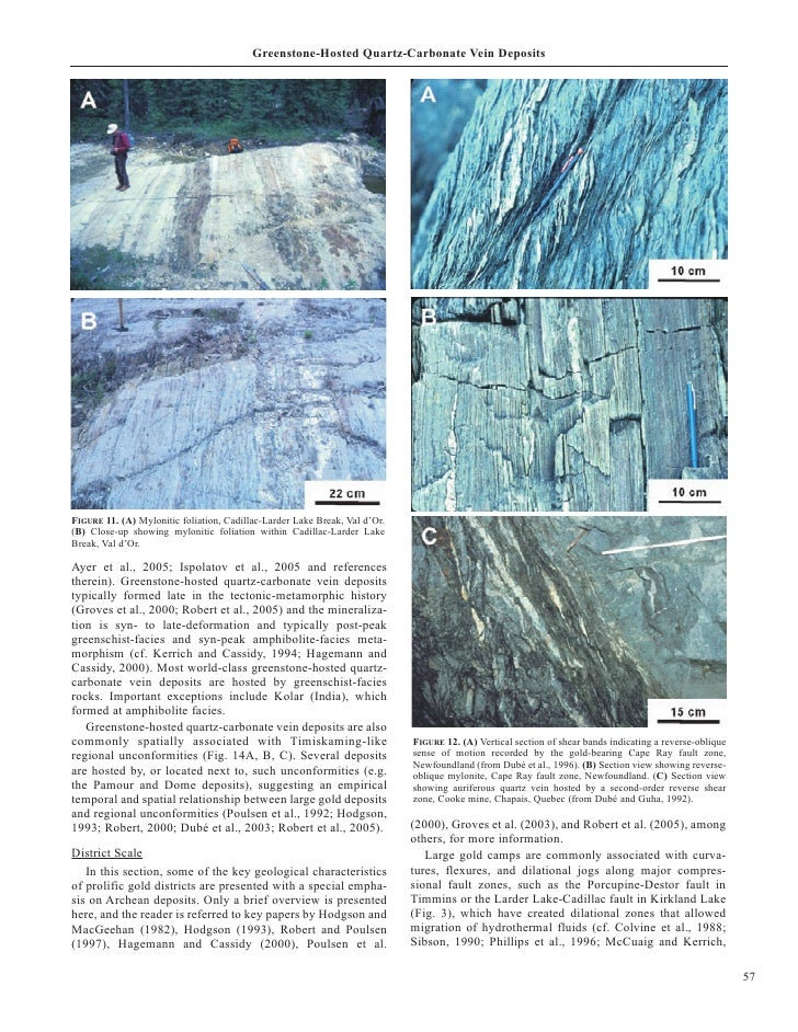 Greenstone-Hosted Quartz-Carbonate Vein Deposits     FIGURE 11. (A) Mylonitic foliation, Cadillac-Larder Lake Break, Val d...