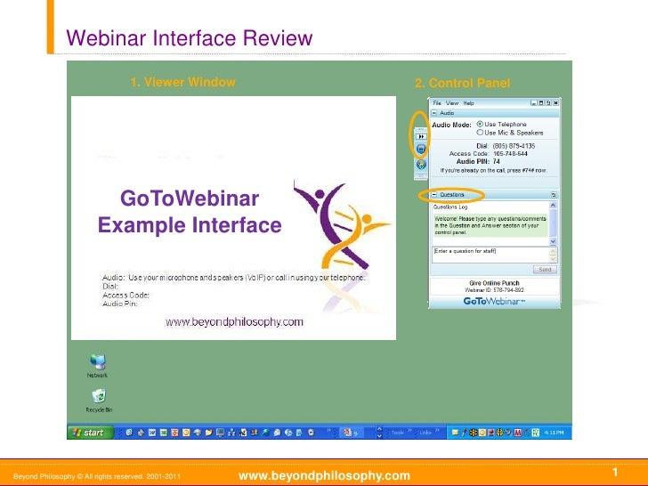 Webinar Interface Review                                  1. Viewer Window                              2. Control Panel  ...