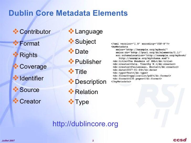 Dublin Core Metadata Initiative - Exemples d'applications  Slide 2