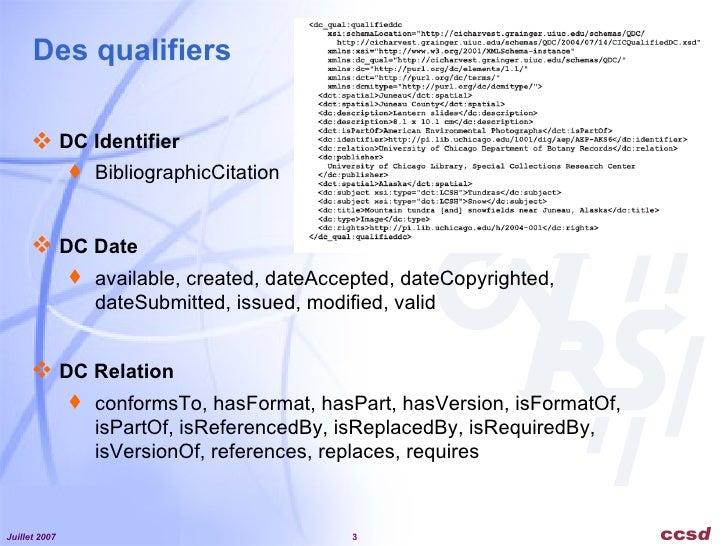 Dublin Core Metadata Initiative - Exemples d'applications  Slide 3