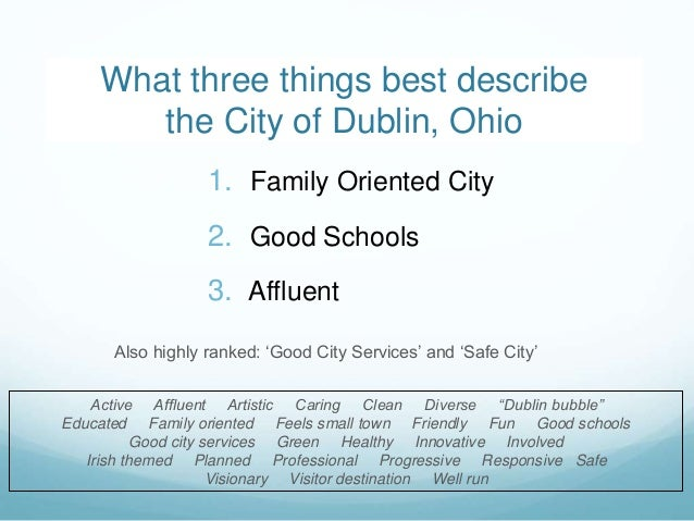 2 1. Family Oriented City 2. Good Schools 3. Affluent Also highly ranked: 'Good City Services' and 'Safe City' What three ...
