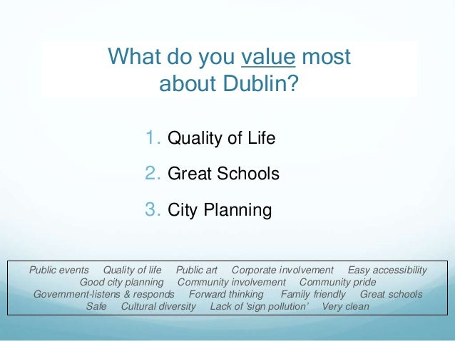 2 1. Quality of Life 2. Great Schools 3. City Planning What do you value most about Dublin? Public events Quality of life ...