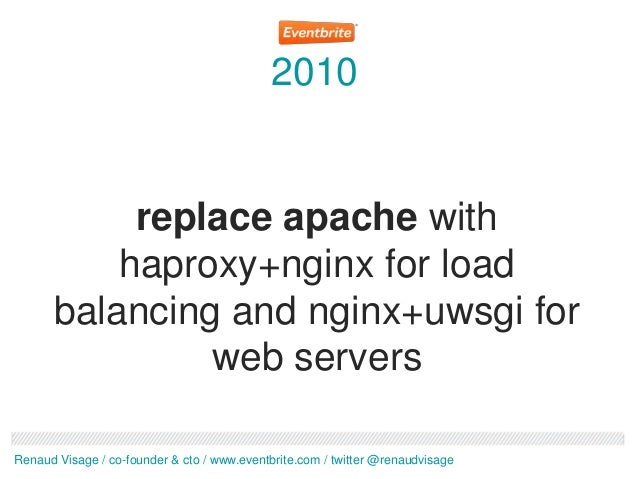 2010           replace apache with          haproxy+nginx for load      balancing and nginx+uwsgi for               web se...