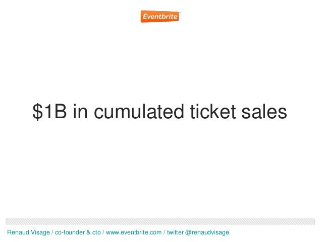 $1B in cumulated ticket salesRenaud Visage / co-founder & cto / www.eventbrite.com / twitter @renaudvisage