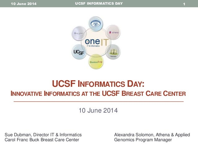 UCSF INFORMATICS DAY10 June 2014 1 UCSF INFORMATICS DAY: INNOVATIVE INFORMATICS AT THE UCSF BREAST CARE CENTER 10 June 201...