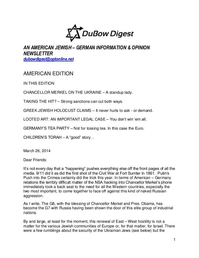 1 AN AMERICAN JEWISH – GERMAN INFORMATION & OPINION NEWSLETTER dubowdigest@optonline.net AMERICAN EDITION IN THIS EDITION ...