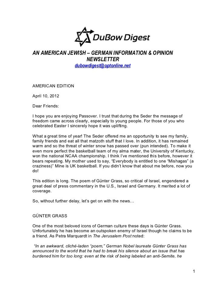 AN AMERICAN JEWISH – GERMAN INFORMATION & OPINION                   NEWSLETTER                      dubowdigest@optonline....