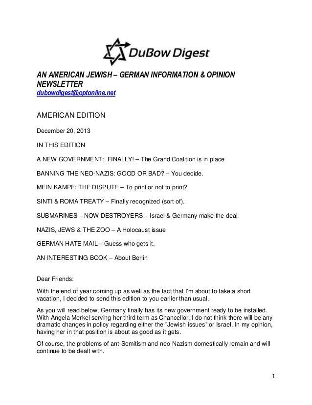 AN AMERICAN JEWISH – GERMAN INFORMATION & OPINION NEWSLETTER dubowdigest@optonline.net AMERICAN EDITION December 20, 2013 ...