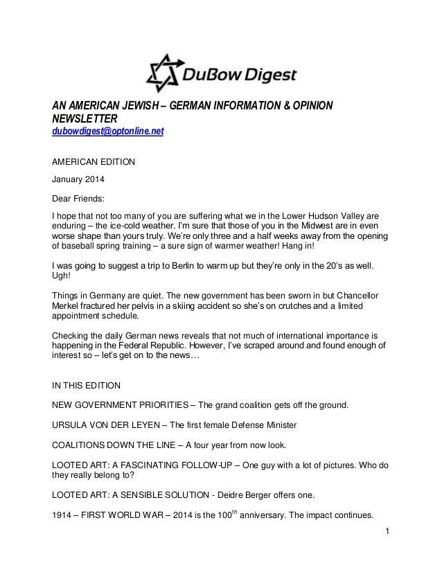 AN AMERICAN JEWISH – GERMAN INFORMATION & OPINION NEWSLETTER dubowdigest@optonline.net AMERICAN EDITION January 2014 Dear ...